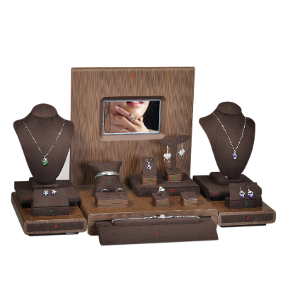 Jewerly Display Set Wooden Shop Showcase Stackable