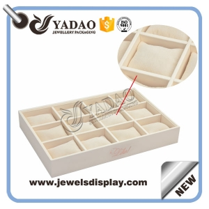 2015 Good quality Hot Sale Jewelry Display Tray Linen Bangle Display Tray& MDF Wooden Jewelry Display Trays for Watch