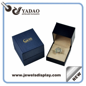 2015 Newest design Fashion Small blue ring boxes ,ring packing boxes ,ring jewelry boxes for jewelry shop counter and store window made in China