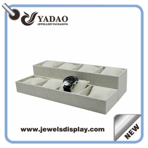 2015 Newest design linen watch tray for watch display with pillow made in China