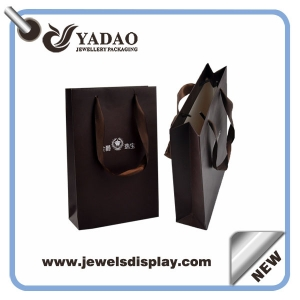 2015 fashion kind of jewelry brown shopping bag paper bag for jewelry with logo and drawstring made in China