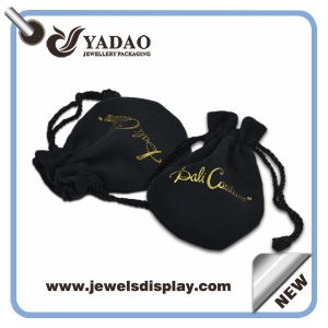 2015 new design black velvet pouch for jewelry package with drawstring and logo made in China