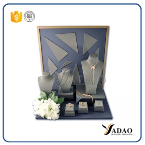 2017 New arrival fancy design MDF pu leather jewelry display set