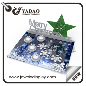 2017 New design for Christmas---Acrylic jewelry display set with snowflake printed on the display.