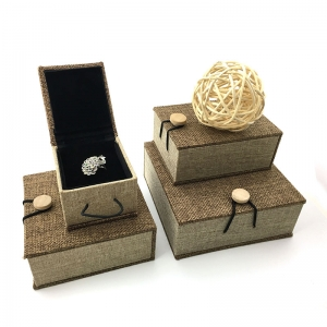 2017 latest unique design nature linen  jewellery box