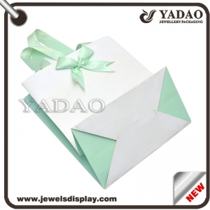 2017 spring fashion design jewellery paper bag shopping craft handbag with free logo customize