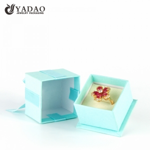 Popular Exquisite  fancy blue handmade customized  paper jewelry ring box with bowknot wholesale in China
