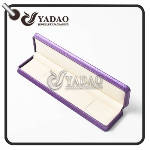 220x55x30mm plastic braclet box covered with leatherette and the inner material is soft velvet with free logo printing service.