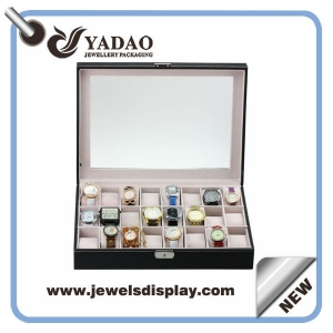 Beautiful large capacity locked watch display tray with transparent lid