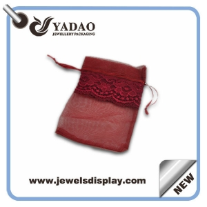 Beautiful popular hot-sale transparent lace custom size and color good look silk pouch for jewelry packaging