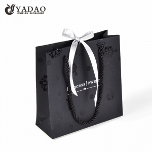 Black fashion shopping paper packaging bag for jewelry and watch packing with free logo and color customized