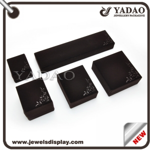 Black velvet jewelry box for ring necklace bangle earring made in China