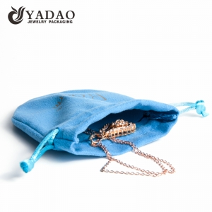Blue mini double velvet jewelry pouch oval shape with drawstring closure