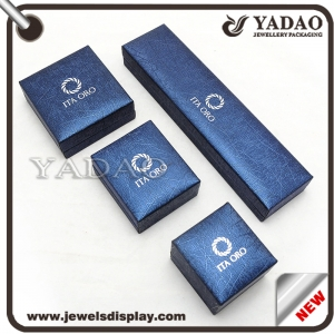 Blue plastic jewelry ring box with your logo