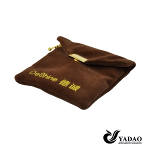 Brown Plush velvet jewellery pouch bags with metal button for jewelry packaging