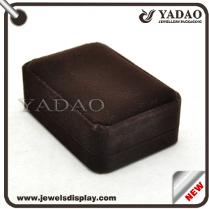 Brown velvet covered manufacture Chinese jewelry velvet box for jewelry storage