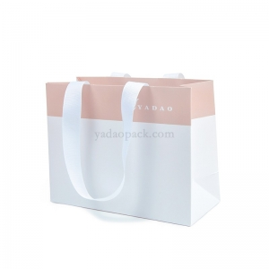 CMYK printing custom size/color/logo  shopping/gift/jewelry packaging paper bag with ribbon handle
