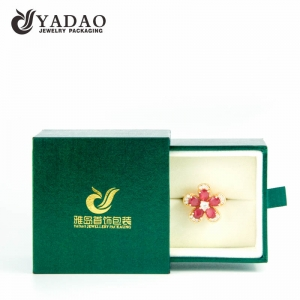 CUSTOM MADE Luxury sliding leatherette paper ring box with hot stamp logo and soft velvet interior for packing fine jewelry and fashion jewelry.