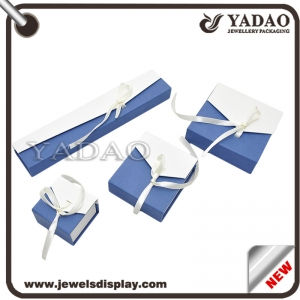 China Custom blue and white paper box with white silk ribbon for rings earrings necklace and bracelet packing jewelry gift box