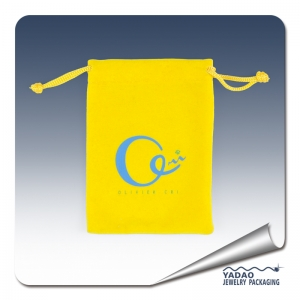 China Yellow color velvet jewelry pouch with string and silk screen logo factory