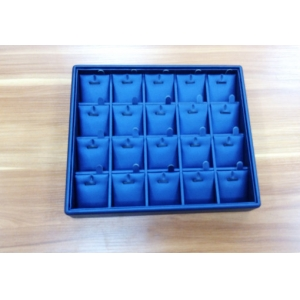 China factory of Custom MDF jewelry trays wrapped with blue PU leather for jewellery shop and cabinet showcase necklace trays