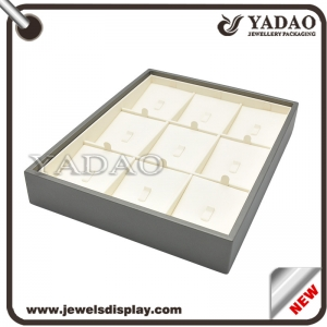 China factory of Newest luxury off white and dark grey PU leather jewelry display holder for shop and tradeshow showcase ring exhibitor trays