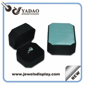 China factory supply ability 1000000 per month blue leather jewelry plastic boxes for shop counter and window display and showcase  ring packing box