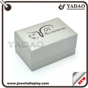 China manufacturer of Luxury grey color PU leather packing cases for clothes shop with custom black silk screen printing logo Cufflink box
