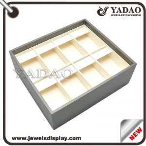 China newest design custom stackable PU leather jewellery showcase trays for jewelry tradeshow and shop caninet exhibitor earring jewelry trays