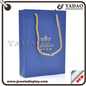 China supplier customized different size different shape jewelry packaging paper bag for go shopping
