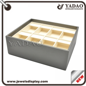 China supplier leather cover wooden jewelry tray for pendant/earring etc. tray