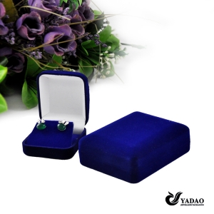 China wholesale Custom blue velvet jewellery case with velvet insert for necklace ring earrings and bracelet packing jewelry box