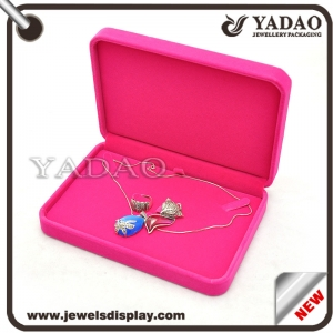 China wholesale MOQ 500 one set of pink color flocking jewelry and gift boxes for rings necklaces earring bracelets packing velvet box