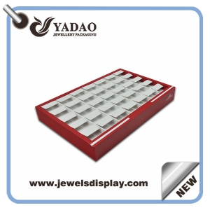 Chinese Manufacturer of promotional handmade white and red leather earring display trays ,earring exhibitor tray holder , earring presentation trays