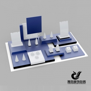 Chinese factory price custom blue and white acrylic jewelry shop exhibitor ,jewelry counter presentation,jewelry store displays with custom sample and logo offered
