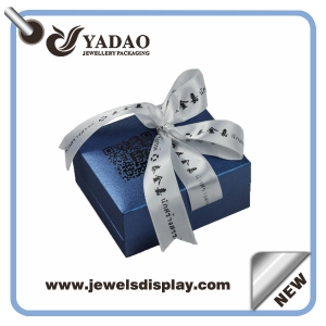 Chinese manufacturer High-end Luxury necklace and ring boxes ,leather jewelry packing cases , plastic jewelry chests for jewery shop counter and window and party favors  with ribbon and bow