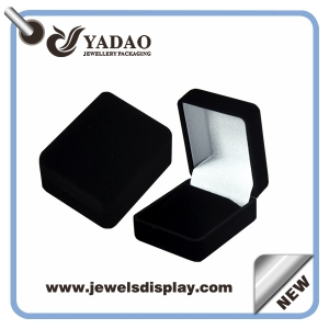 Chinese manufacturer of Economic cheap but high quality Black flocking jewelry packing for jewelry shop party favors and gift velvet earring gift boxes