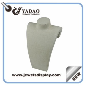 Chinese manufacturer of High quality linen necklace busts, resin necklace display props ,resin necklace form  stand wrapped with linen for jewelry shop counter showcase