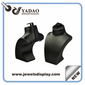 Chinese manufacturer of  economic Custom Luxury metalic black leather necklace busts ,necklace display stand ,necklace display figures with earring slot on the top
