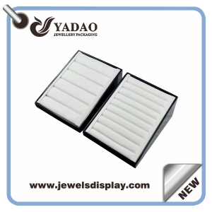 Chinese manufacturer of lacquer ring trays ,white PU ring trays ,Luxury ring display trays for jewelry shop counter and showtrade