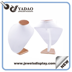 Chinese manufacturer of wood and leatherette necklace display bust , necklace display stand,customized necklace display for jewelry shop counter and window showcase and exhibitor