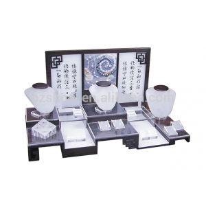 Chinese style calligraphy printed scrub surface acrylic stand jewelry display set wholesale