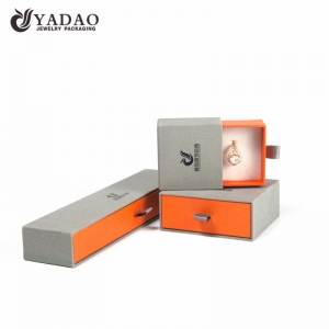 Custom made fashion logo printed slider cardboard paper box with fine velvet interior for jewelry packaging