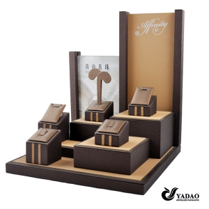 Custom Chocolate PU leather jewelry display prop with MOQ 20 for shop counter showcase and exhibitor used jewelry display cases