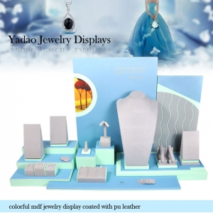 Custom Colorful MDF Jewelry Display Coated with PU Leather