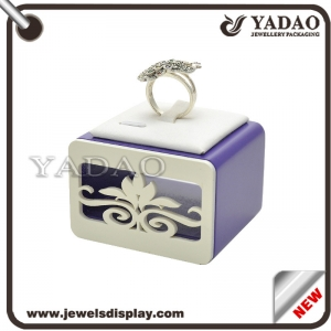 Custom Resin wrapped with purple paint and white PU leather jewellery displays for shop counter and cabinet showcase  ring displays