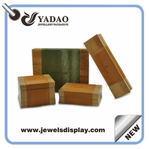 Custom colored leather middle lacquered jewelry wooden boxes set