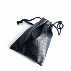 Custom drawstring black pu leather bag jewelry packaging pouch bag leather pouch