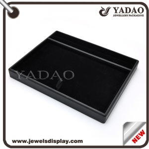 Custom handmade pu leather cover stackable jewelry set display tray