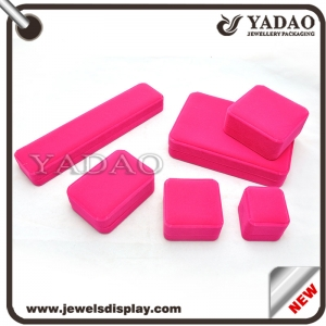 Custom logo Fuchsia flocking box with velvet inside pad for jewelry gift and Cosmetic packing velvet boxes